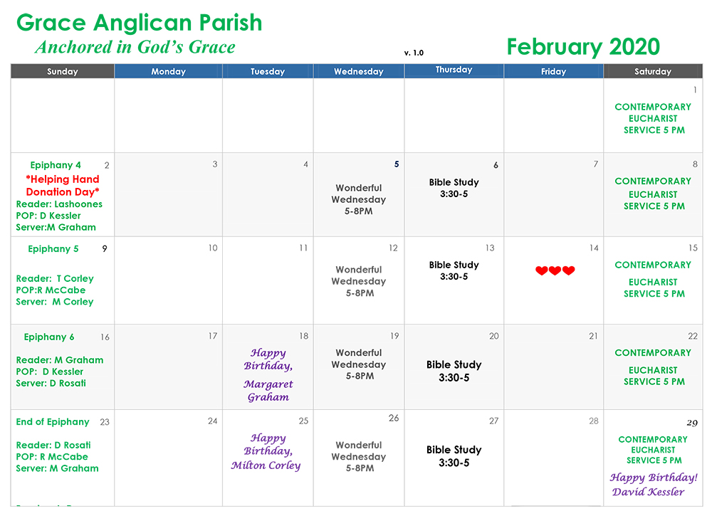Grace Parish February Calendar